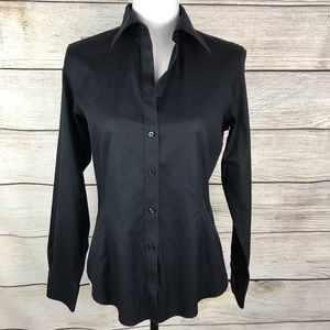 Brooks Brothers tailored fit black button down top
